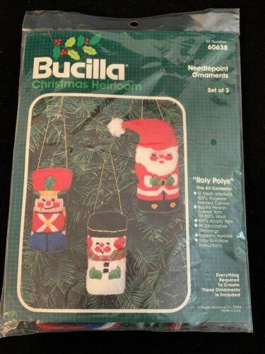 Vintage Bucilla Ornaments Kit Santa Snowman Soldier Christmas Needlepoint