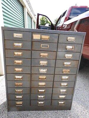 Vintage File Cabinet Steelmaster 30 Drawer Industrial Grey Jewelry Art Chest