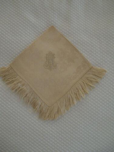 "Antique Silk Damask Napkin - Cream, ~13""(33cm) Square, 2"" Fringe, Monogrammed"