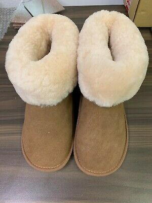 Just Sheepskin Slipper Boots Size 3/4 Brown