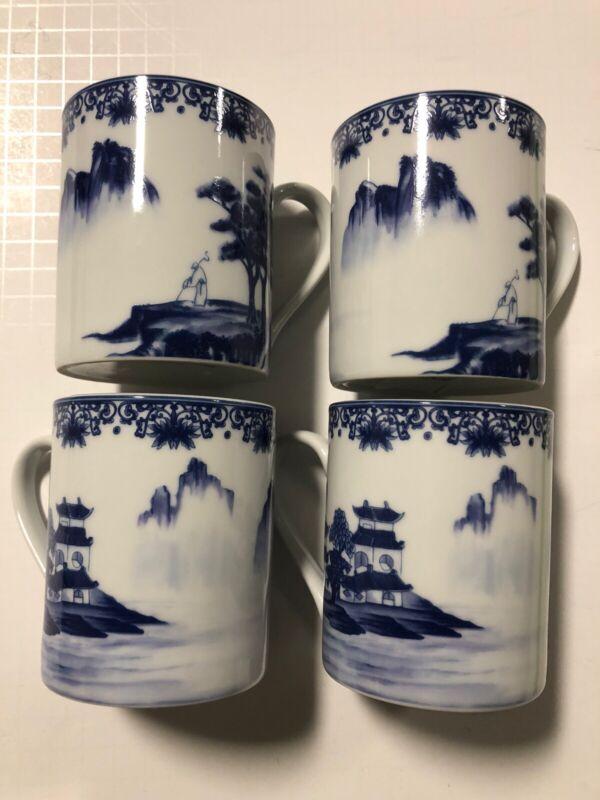 Canton Blue Porcelain Coffee Mug Cup China Oriental Pagoda Mountain Set Of 4