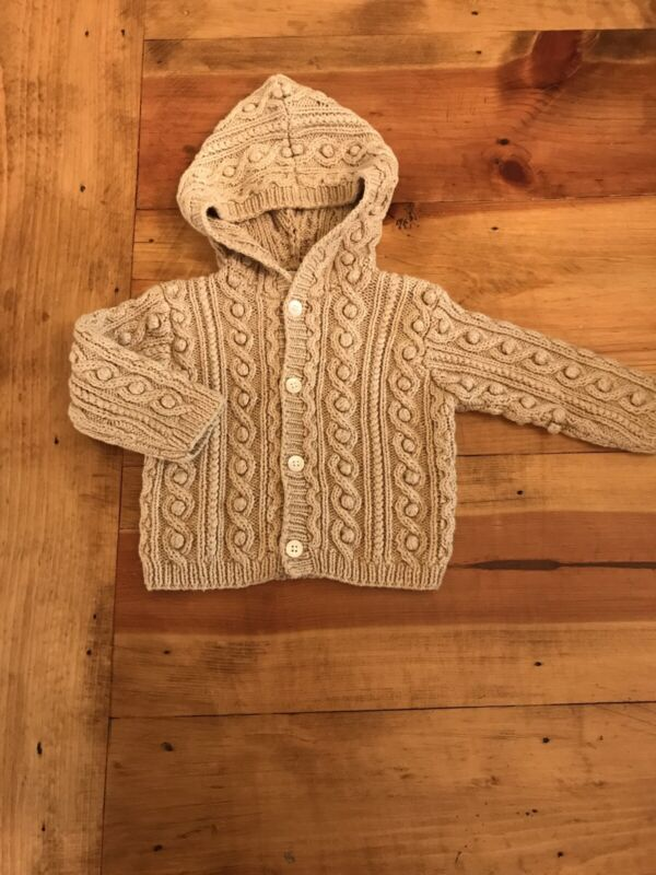 Janie & Jack Beige Soft Knit Sweater Cardigan Hooded Button Sweater  3-6 Months
