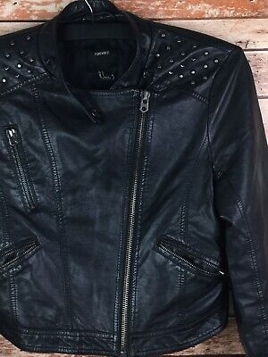 Forever 21 Girls Studded Faux Leather Black Jacket Jr. Size Large (Faux Leather Girls Jacket)