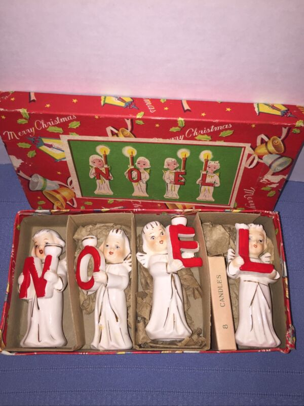 Vintage 1950s Relco NOEL Angel Letters Ceramic Xmas Candle Holders in JAPAN Box