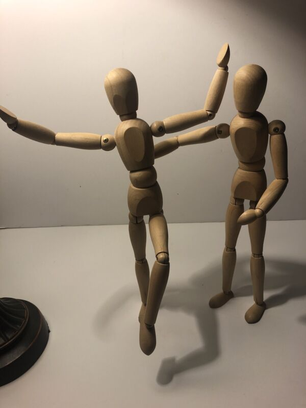 "Two Wooden Posable 12"" Mannequin Model Art Artist Reference Figure Model"