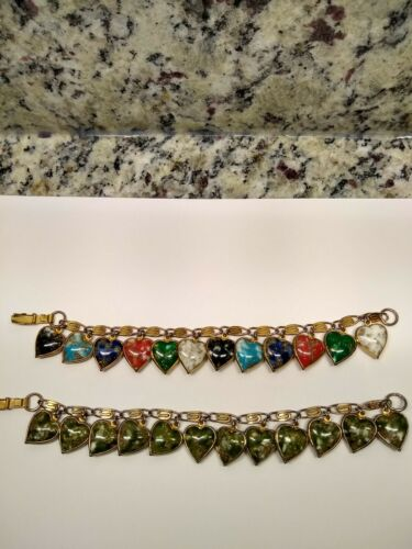 """VINTAGE ( Lot of 2) """"WARNER"""" PUFFY HEART CHARM BRACELETS VGC Very Good Cond."""