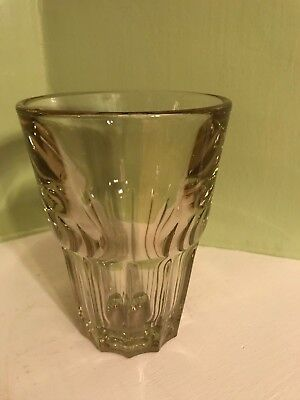 "vintage ridged art deco yellow tinged 6"" heavy vase numbered"