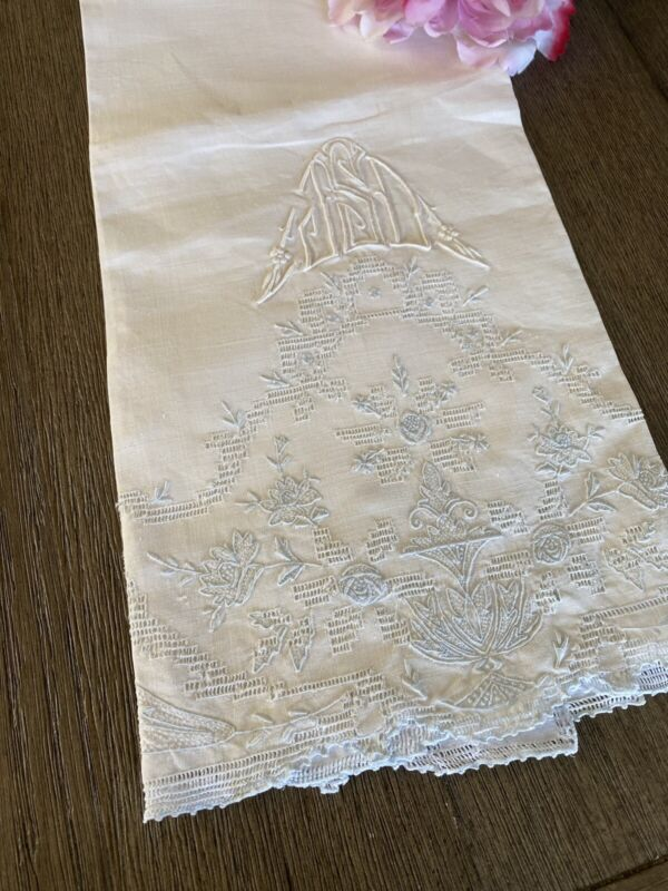 Vintage White Linen And Lace Blue Embroidered Towel Monogram JSD