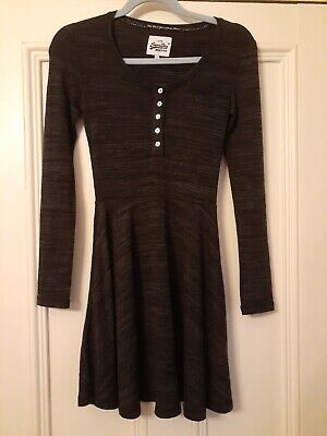 Superdry Dark Grey Fit And Flare Long Sleeve Soft Knit Dress Uk Xs 6/8