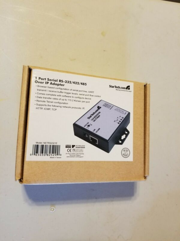 NEW StarTech 1 Port RS-232/422/485 Serial over IP Adapter NETRS2321E