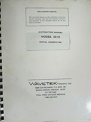 Wavetek Model 3510 Signal Generator Instruction Manual