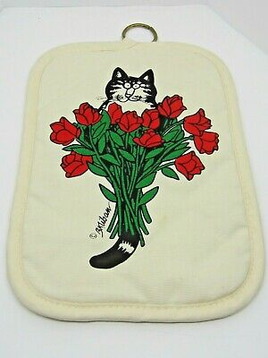 B.Kliban Cat Potholder Vintage White And Red Roses Chef Cat Kitchen Hot Pad Cook