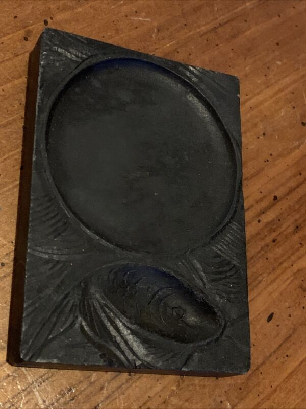 VINTAGE Chinese INK STONE For CALLIGRAPHY Inkstone Carved Fish