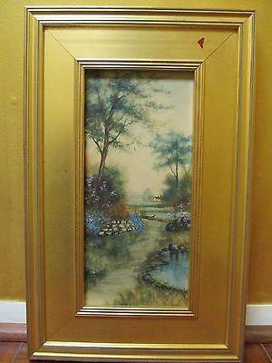 Antique Landscape Oil On Board Trees White House Robin/Gold Frame
