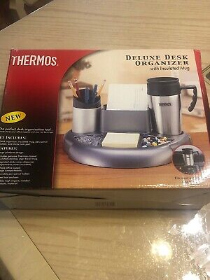 Desk Organizer By Thermos Insulated Coffee Mug Notepad Pen Holder