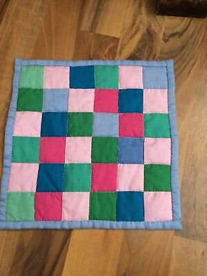 Post Stamp Hand Quilted Amish Colors Doll Quilt Bound and Backed in Blue 10 X 10