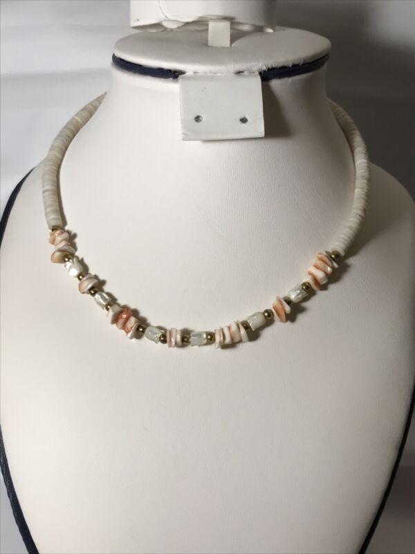 White & Pink Puka Shell Choker Necklace