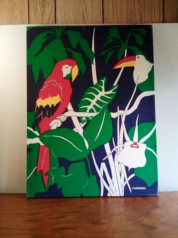 Pre Vintage Marushka 24 X 18 Tropical Parrot Silk Screen Print  Textile Wall Art