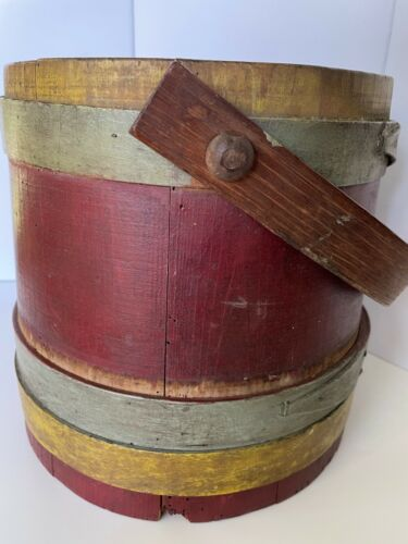 antique painted wood firkin sugar bucket three fingers/bands-red w/ blue yellow