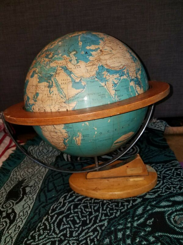 "Denoyer Geppert globe 12"" Cartocraft 1962 Physical Political with stand"