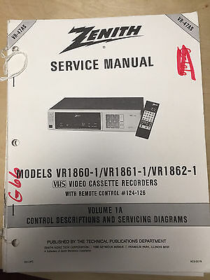 Zenith Service Manual for the VR1860-1 VR1861-1 VR1862-1 VCR ~ Repair