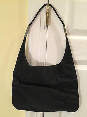 Authentic GUCCI Black Nylon Canvas Hobo-Style HANDBAG SHOULDER BAG 001-3167-3754 ()