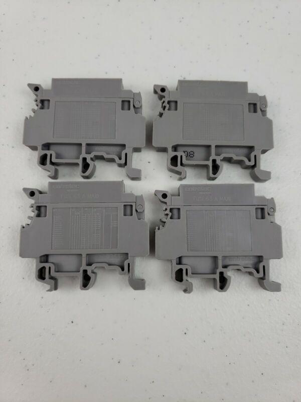 Lot of 4 Entrelec ABB M4/8S Fuse 6.3 A MAXI Terminal Block Fuse Holder Gray Grey