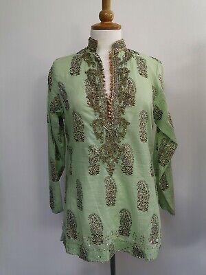 Preloved designer Juliet Dunn pink & gold sequin & beaded kaftan