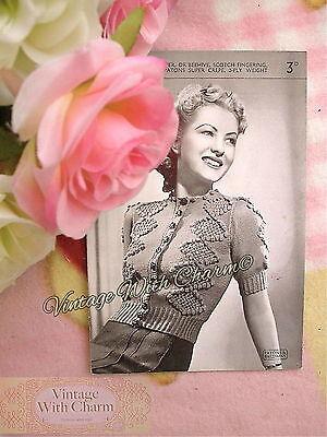 Free Knitting Pattern Stitches (Vintage 40s Knitting Pattern Lady's Beautifully Stitched Cardigan FREE UK P&P )