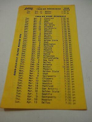 Los Angeles Lakers& Kings 1985-86 Pre-Season & Regular Season Home Game Schedule