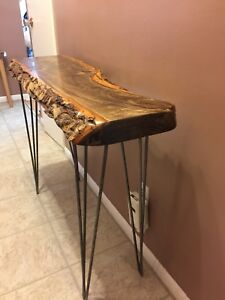 live edge rustic entry table