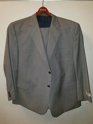 NEW Jack Victor Taupe Plaid Suit Jacket 50 PS & Trousers 49 Portly Short RRP£835