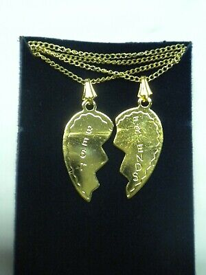 Vintage Best Friend Broken Heart Share Necklace Gold Tone 18 in with 2