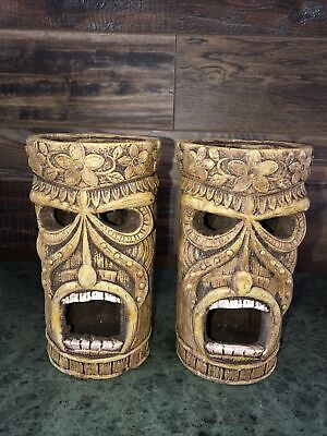 Tiki Mask Vintage Candle Holder Lamp Statue Ceramic Votive Luminary HEAVY