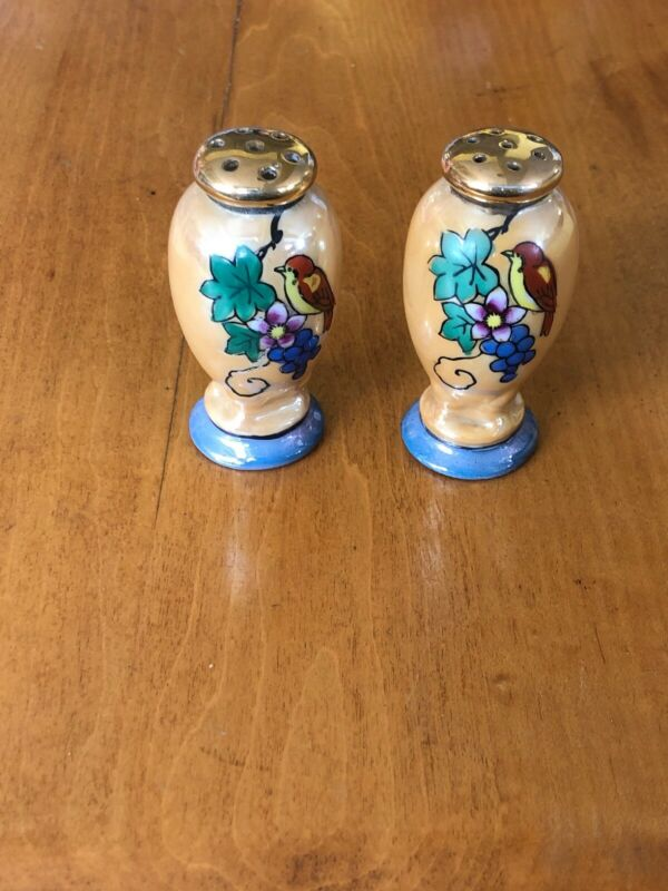 ANTIQUE JAPAN HAND PAINTED PEARLESCENT FLOWER/BIRD DESIGN SALT/PEPPER SHAKERS!