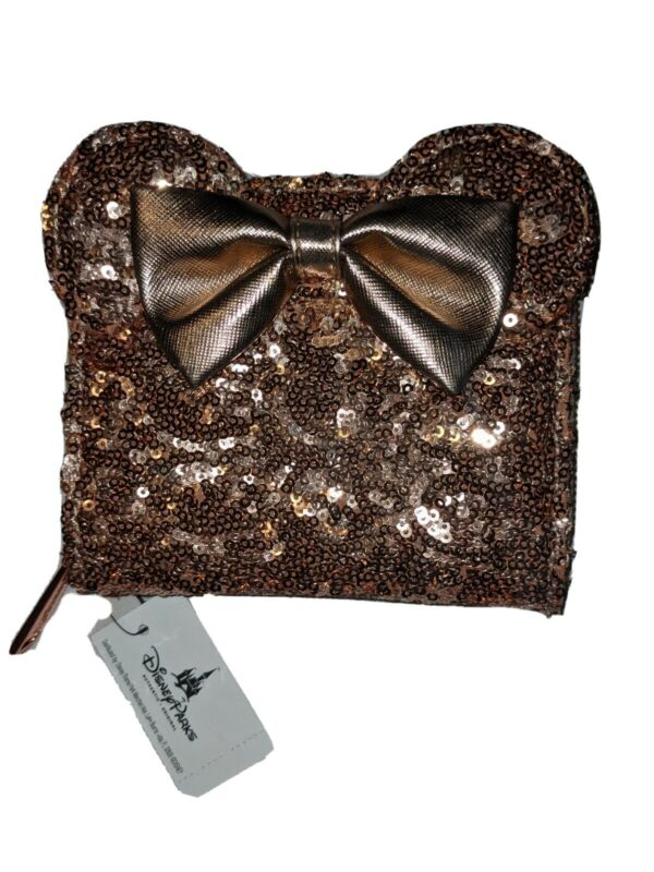 Disney Parks Loungefly Minnie Rose Gold Ears Sequined Wallet NEW Discontinued