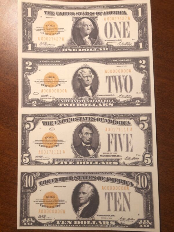 Copy 1934 Gold Seal $1 $2 $5 $10 Uncut Reproduction Currency Money Sheet