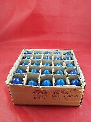 "Vintage Christmas Lights Bulbs C9 1/4 Glass BLUE 120V 7W- ""25- PACK""  Lot(205-58"