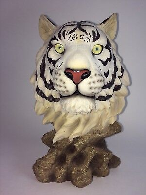 """10"""" White Bengal Tiger Head Bust Collectible Wildlife Figurine Statue Resin"""