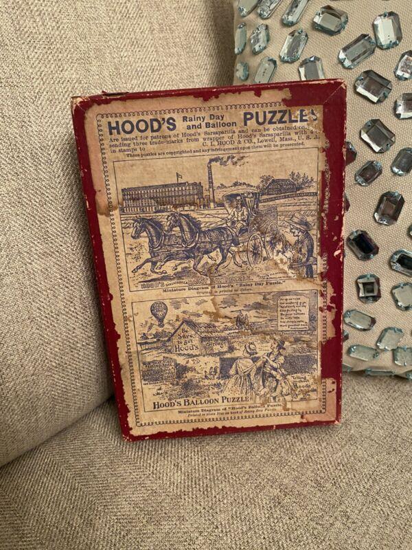 Antique 1890 HOODS Sarsaparilla RAINY DAY &  Balloon Advertising Puzzle Box Only