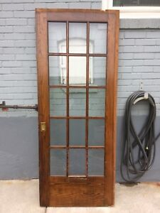 100 year old wooden glass sliding door