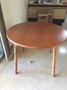 Dinning table round timber 4 chairs