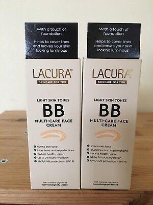 2 x Lacura BB Multi Care Face Cream Light Skin Tones 50 ml SPF 15 NIB