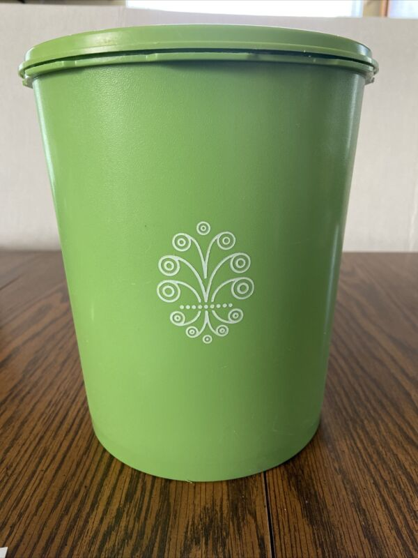 Vintage Tupperware Canister with Lid Large Lime Green 805-13