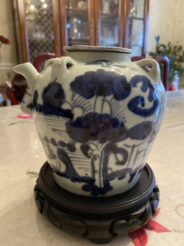 Chinese Antique Late Qing Blue And White Porcelain Pot