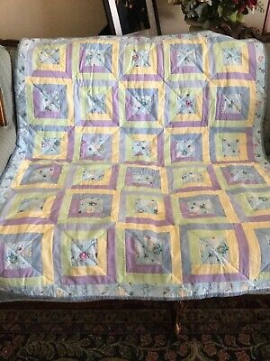 """-HANDMADE-  New Baby Quilt 100% Cotton In Reproduction Prints 40""""x47"""""""