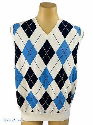 Polo Golf Men's XL Sweater Vest Cotton Cashmere Cream White Argyle Flaw C18