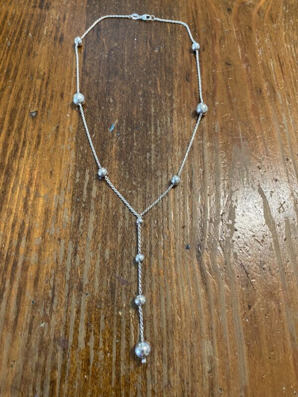 925 sterling silver necklace with silver bead on chain