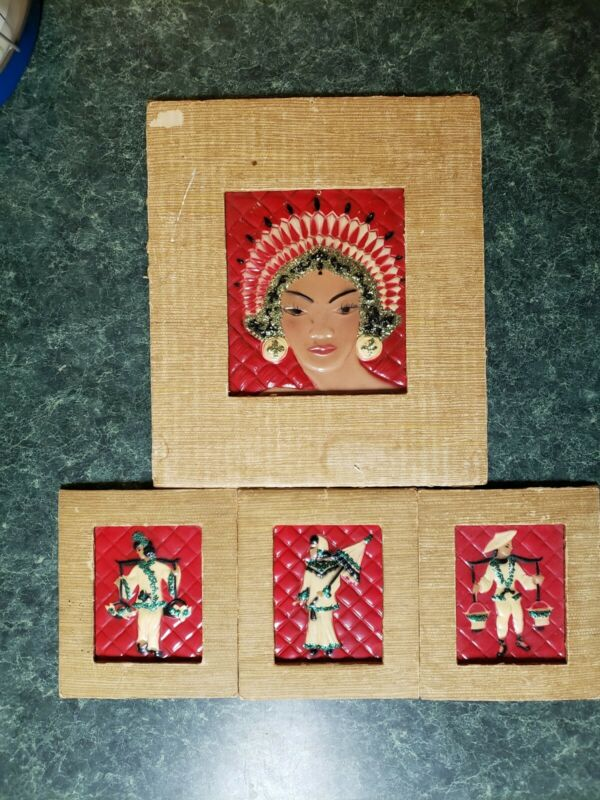 Vintage Picture Arrangements by Wanda Irwin Original Ceramiplac Asian Art