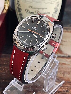 Omega Geneve Chronostop Mens Vintage Cal 865 1969 steel Red leather watch